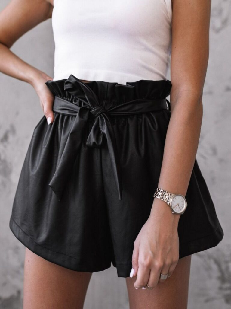 Casual Tie Waist Black Shorts