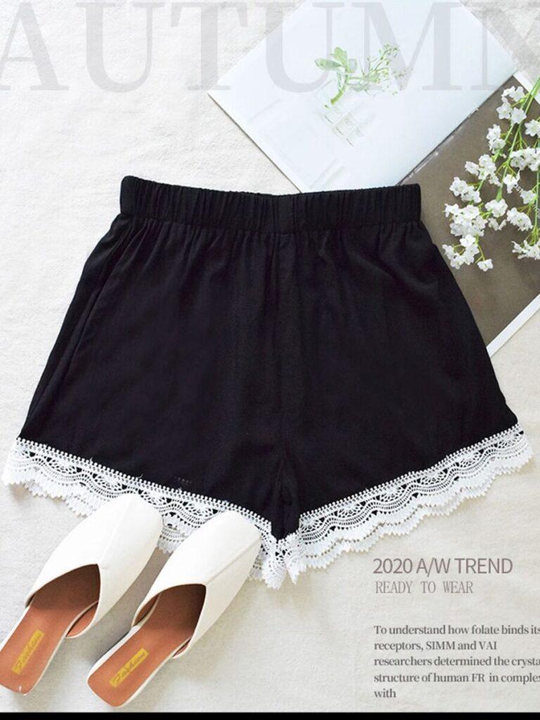 Summer Lace Trim Black Shorts