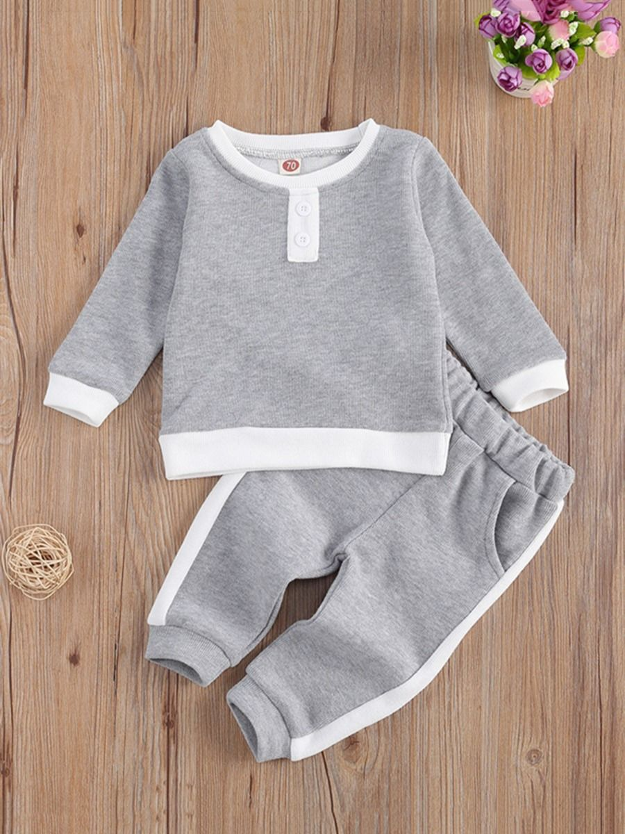 kiskissing wholesale 2-pieces kid casual set top with pants