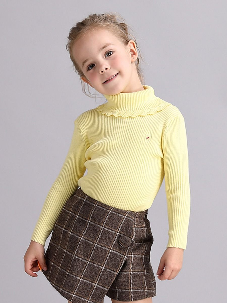 kiskissing wholesale fall toddler little girl solid color high collar knitted top