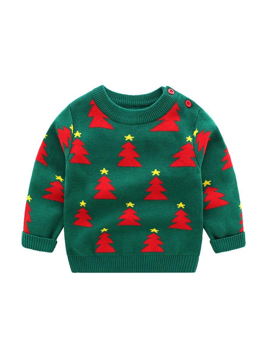 kiskissing wholesale kid christmas tree crew neck knit pullover