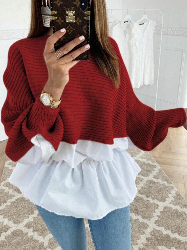 shestar wholesale flared hem patchwork knit blouse