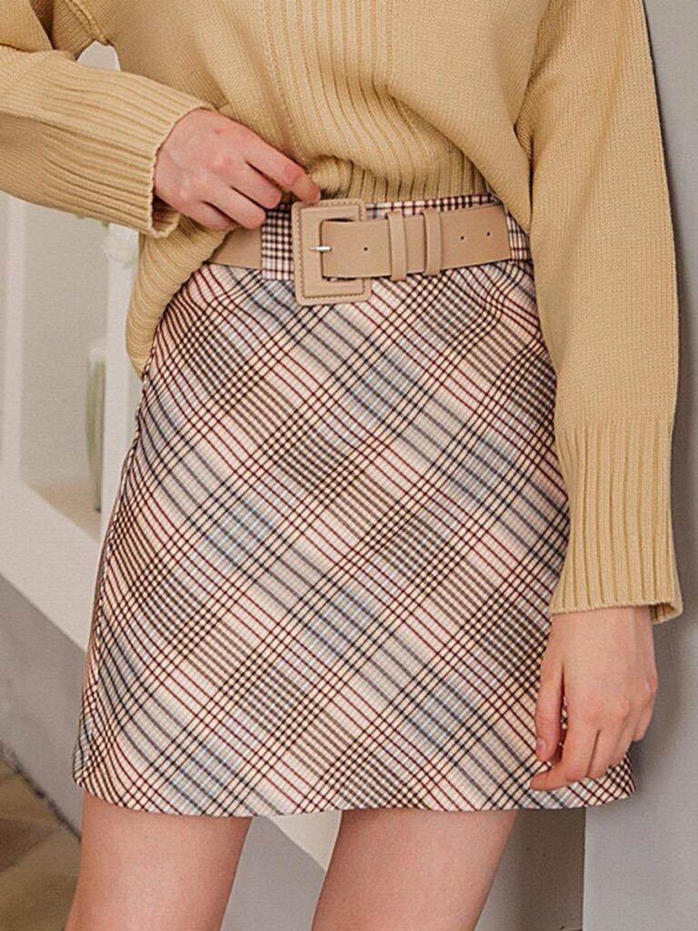 shestar wholesale vintage belted plaid women skirt