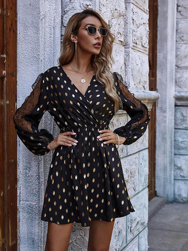 Sheered Sleeve Lace Patchwork Polka Dot Dress