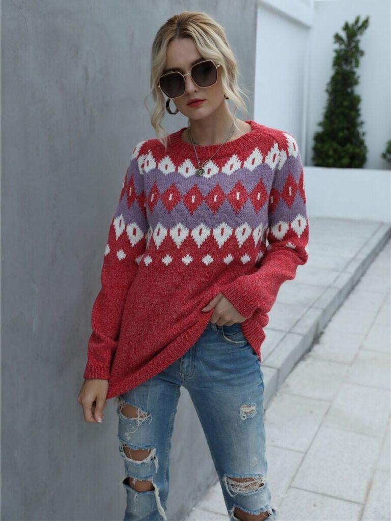 Christmas Geometric Pattern Knitting Sweater