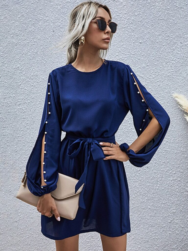 Open Sleeve Pearls Trim Belted Dress