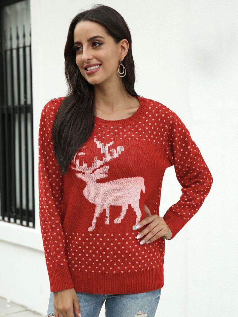 Christmas Deer Jacquard Jersey Sweater
