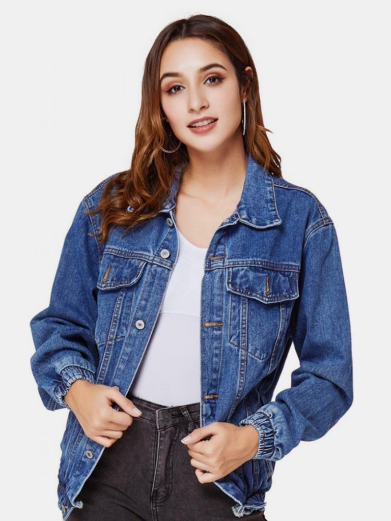 womens casual clothing shestar wholesale flap pocket button down denim jacket