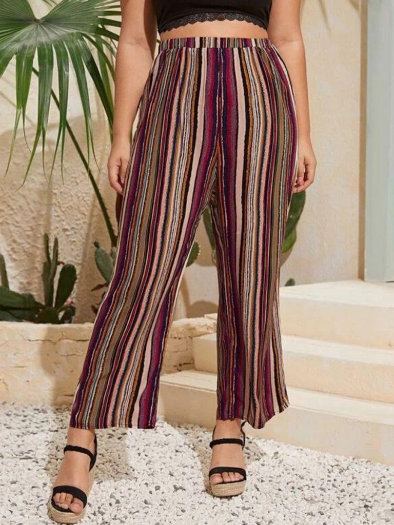Plus Size Colorful Stripe Trousers