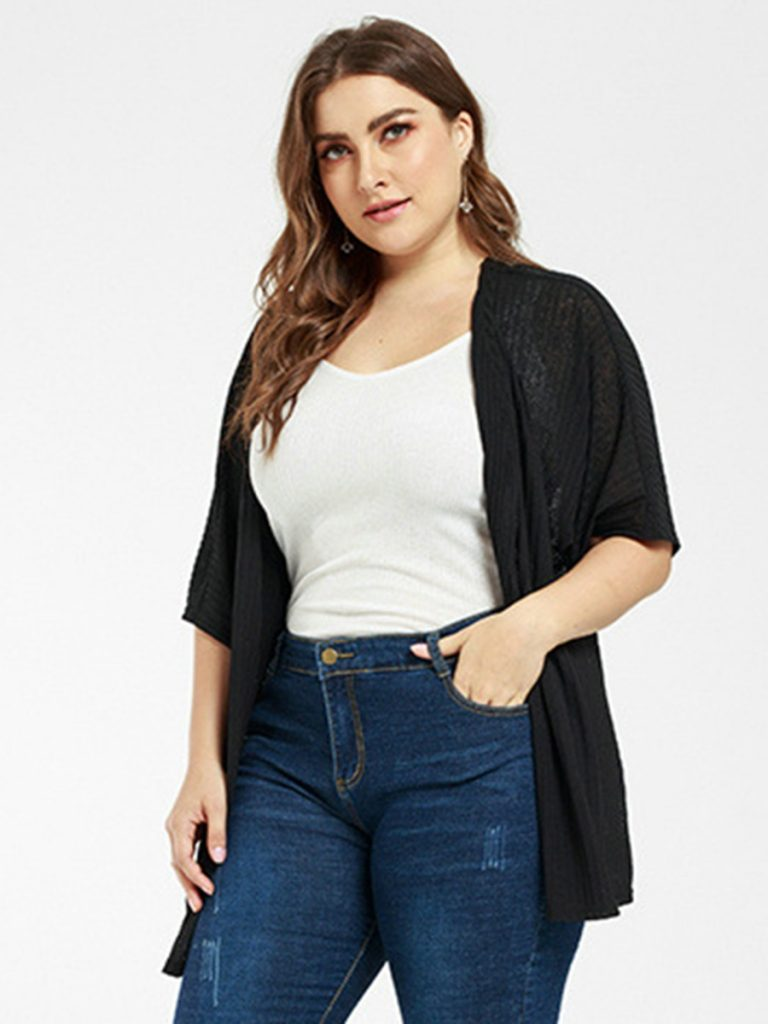 Plus Size Criss-cross Back Knitted Cardigan