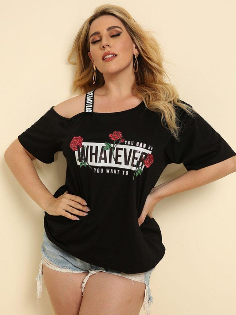 Plus Size Cold Shoulder Letter & Flower Print T-shirt