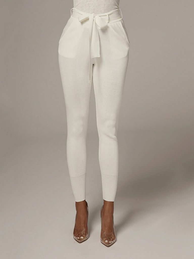 Pure Color Knotted Front Skinny Leggings